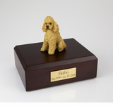 Apricot Sport Cut Poodle Dog Figurine Pet Cremation Urn - 812
