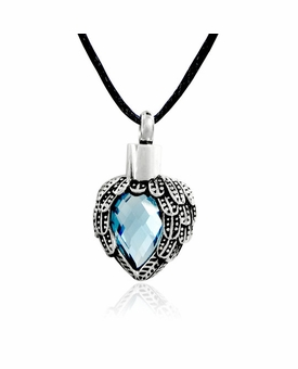 Aquamarine Angel Wings Heart Stainless Steel Cremation Jewelry Pendant Necklace