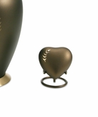 Aria Wheat Heart Brass Keepsake Cremation Urn