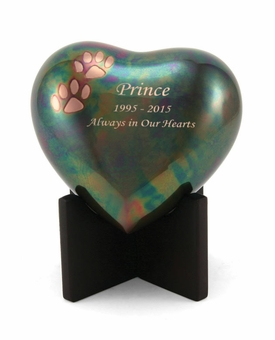 Arielle Paw Prints Raku Heart Keepsake Cremation Urn - Engravable