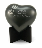 Arielle Paw Prints Slate Heart Keepsake Cremation Urn - Engravable