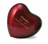 Arielle Ruby Heart Keepsake Cremation Urn - Engravable