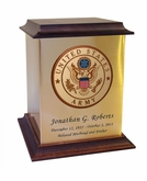Army Color Emblem Sheet Bronze With Walnut Trim Snap-Top Cremation Urn