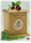 Army Recessed Military Embossed Medallion Engraved Wood Cremation Urn