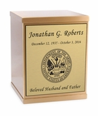 Army Sheet Bronze Overlap Top Cremation Urn with Engraved Plate