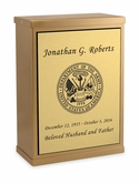 Army Sheet Bronze Overlap Top Niche Cremation Urn with Engraved Plate