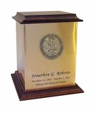 Army Sheet Bronze With Walnut Trim Snap-Top Cremation Urn