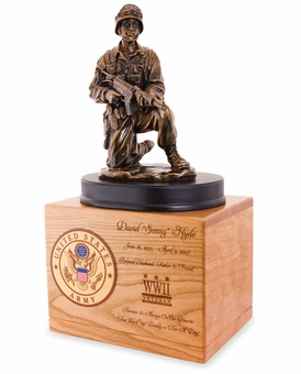 Soldier Military Solid Cherry Wood Cremation Urn