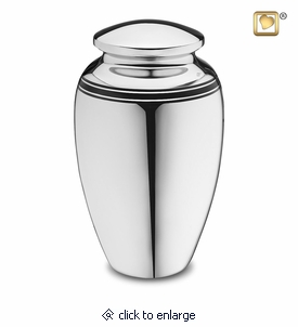 Art Deco Silver Finish Cremation Urn