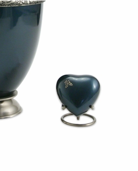 Artisan Indigo Heart Brass Keepsake Cremation Urn