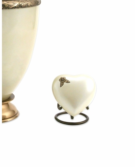Artisan Pearl Heart Brass Keepsake Cremation Urn
