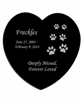 Ascending Cat Prints Laser-Engraved Pet Black Granite Memorial Heart Plaque