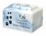 Ascending Dog Paw Prints Pet Classic Cultured Marble Cremation Urn Vault - Engravable - 34 Color Choices