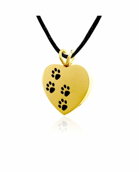 Ascending Paw Prints Gold Stainless Steel Pet Cremation Jewelry Pendant Necklace