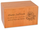 Aspen Natural Cherry Finish MDF Wood Cremation Urn
