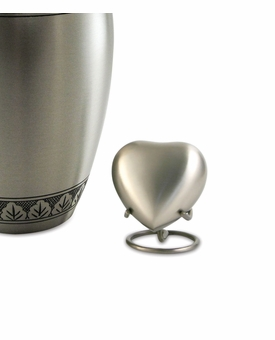 Athena Pewter Heart Brass Keepsake Cremation Urn - Engravable