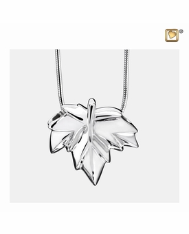Autumn Leaf Rhodium Plated Sterling Silver Cremation Jewelry Pendant Necklace