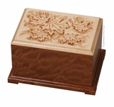 Autumn Leaves Dimensional Bubinga and Maple Wood Cremation Urn