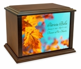 Autumn Leaves Eternal Reflections Wood Cremation Urn - 4 Sizes