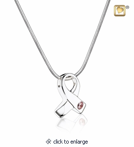Awareness Rhodium Plated Sterling Silver Cremation Jewelry Pendant Necklace