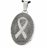 Awareness Ribbon over Fingerprint Oval Stainless Steel Memorial Cremation Pendant Necklace