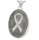 Awareness Ribbon over Fingerprint Oval Sterling Silver Memorial Cremation Pendant Necklace
