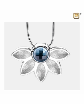 Azure Two Tone With Blue Swarovski Crystal Sterling Silver Cremation Jewelry Pendant Necklace