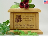 Baby Blocks Infant Engraved Wood Cremation Urn