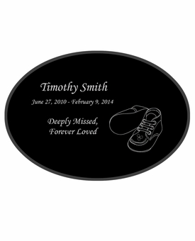 Baby Booties Laser-Engraved Infant-Child Oval Plaque Black Granite Memorial
