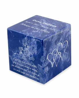 Baby Boy Cobalt Small Cube Infant Cremation Urn - Engravable