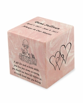 Baby Girl Pink Small Cube Infant Cremation Urn - Engravable