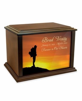 Backpacker at Sunset Eternal Reflections Wood Cremation Urn - 3 Sizes