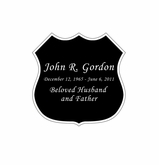 Badge Nameplate - Engraved Black and Silver - 1-7/8  x  1-7/8