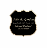 Badge Nameplate - Engraved Black and Tan - 1-7/8  x  1-7/8