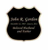 Badge Nameplate - Engraved Black and Tan - 2-3/4  x  2-3/4