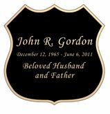 Badge Nameplate - Engraved Black and Tan - 3-1/2  x  3-1/2