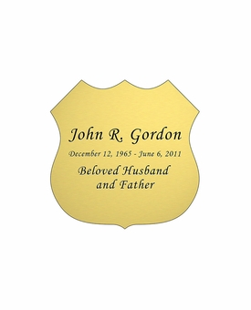 Badge Nameplate - Engraved - Gold - 1-7/8  x  1-7/8