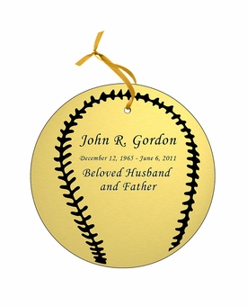 Baseball Double-Sided Memorial Ornament - Engraved - Gold
