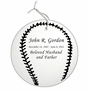 Baseball Double-Sided Memorial Ornament - Engraved - Silver