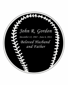 Baseball Nameplate - Engraved Black and Silver - 3-1/2  x  3-1/2