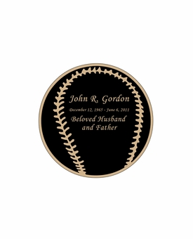 Baseball Nameplate - Engraved Black and Tan - 1-7/8  x  1-7/8