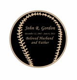 Baseball Nameplate - Engraved Black and Tan - 2-3/4  x  2-3/4