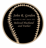 Baseball Nameplate - Engraved Black and Tan - 3-1/2  x  3-1/2