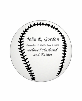 Baseball Nameplate - Engraved - Silver - 2-3/4  x  2-3/4