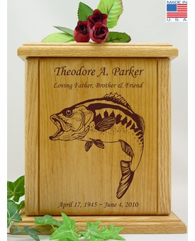 Bass Fish Engraved Wood Cremation Urn