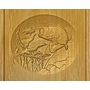 Bass Fish Relief Carved Engraved Wood Cremation Urn