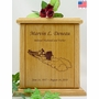 Bass Fishing Boat Engraved Wood Cremation Urn