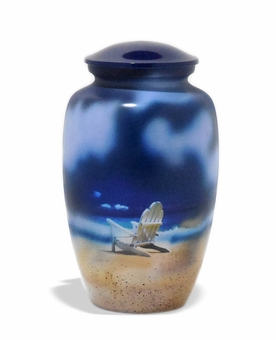 Beach Chair Memories Picture Cremation Urn