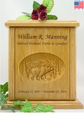 Bear Relief Carved Engraved Wood Cremation Urn