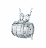 Beer Barrel Sterling Silver Cremation Jewelry Pendant Necklace